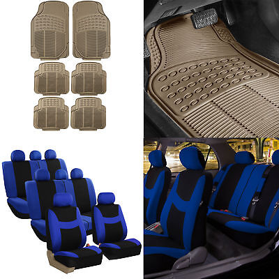 8 Seaters 3 Row Blue Seat Covers for SUV Van Combo with Beige Floor Mats