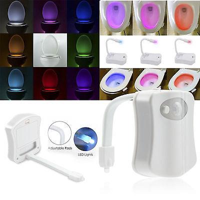 Body Sensing Motion Sensor Automatic Led Night Light Toilet Bowl Bathroom Lamp