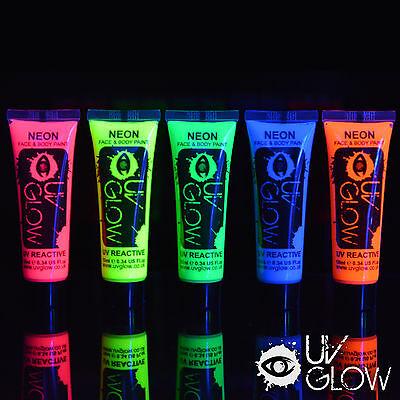 5 x UV Neon Face/Body Paints - cheapest on ebay - fluo blacklight fluorescent