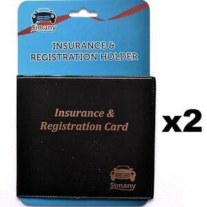 2 Black AUTO CAR TRUCK INSURANCE REGISTRATION CARD HOLDER WALLET 5.25x4.6
