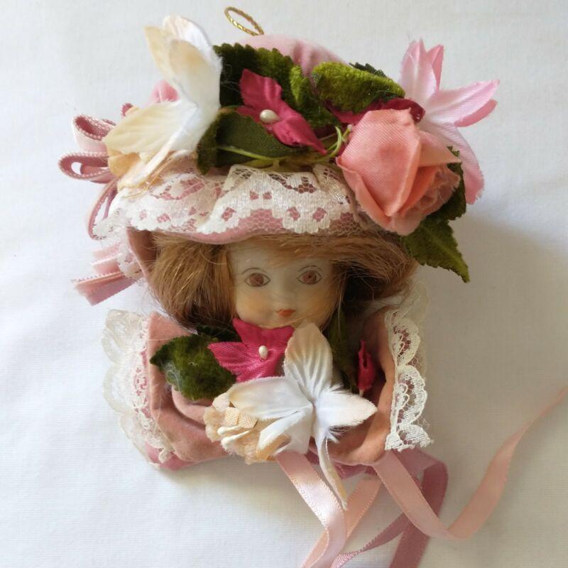 Victorian Dollhead Ornament Christmas Holiday Vintage 1980s Art Deco Style
