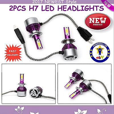 2x COB LED H7 Car DRL Headlight 100W Lamp Light HID Bulb 6000K Kit Diamond White