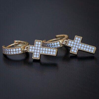 2pc Men's 14K Gold Cross Drop Dangle Hanging Iced Hip Hop Huggie Hoop -