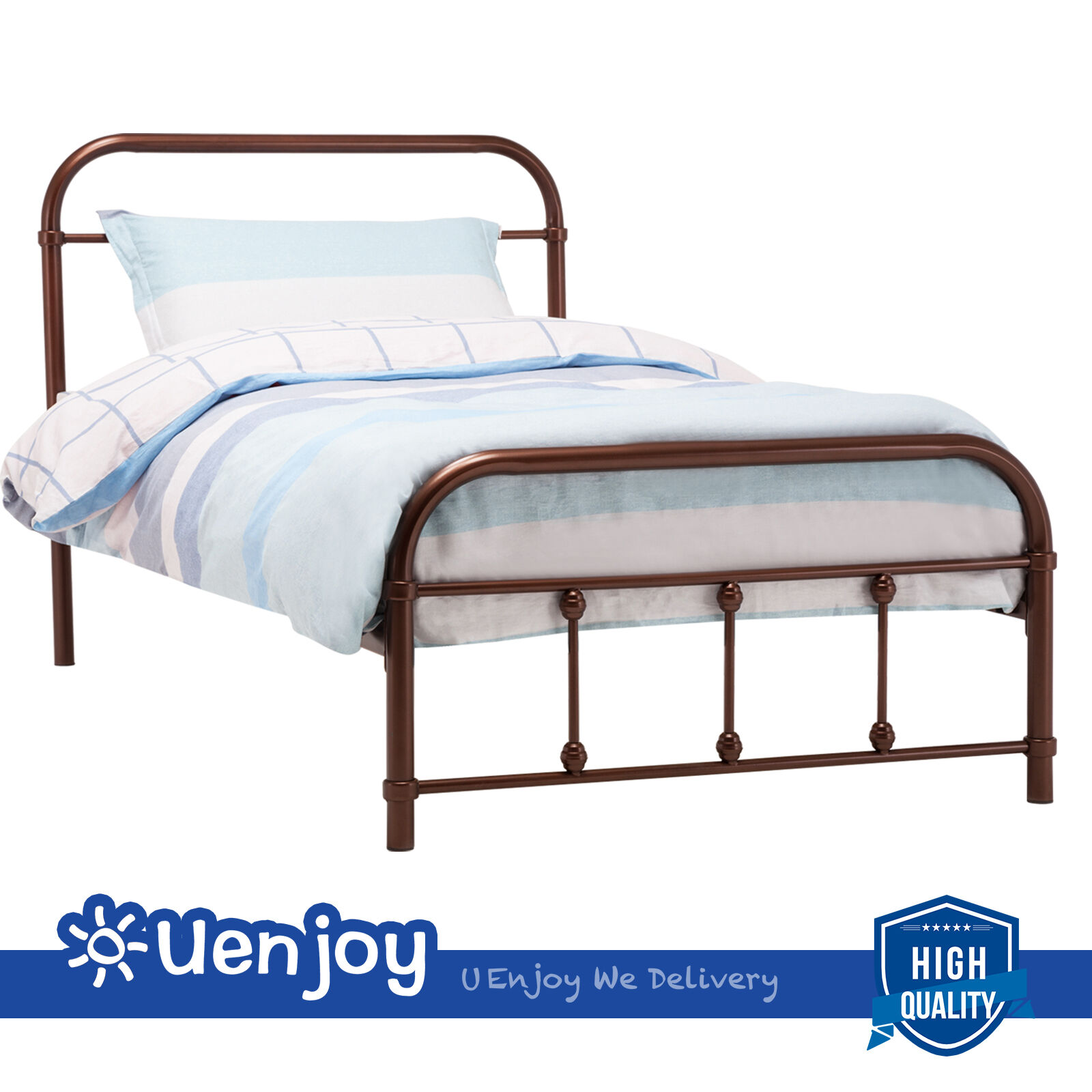twin size metal bed frame wood slats platform bedroom with headboard footboard 603658819743 ebay. Black Bedroom Furniture Sets. Home Design Ideas