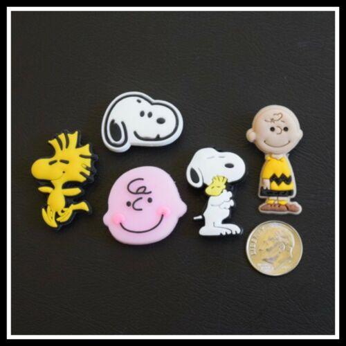 SET 5 Shoe Charms for Crocs Peanuts Comic Cartoon Snoopy Charlie Brown Woodstock
