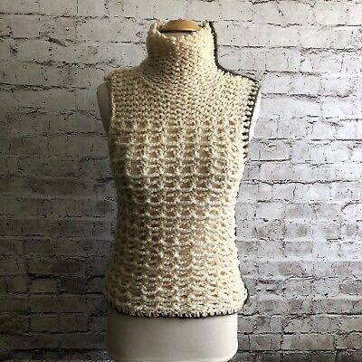 Roberto Collina Open Knit 100% Wool High Neck Sleeveless Sweater Top Size M?