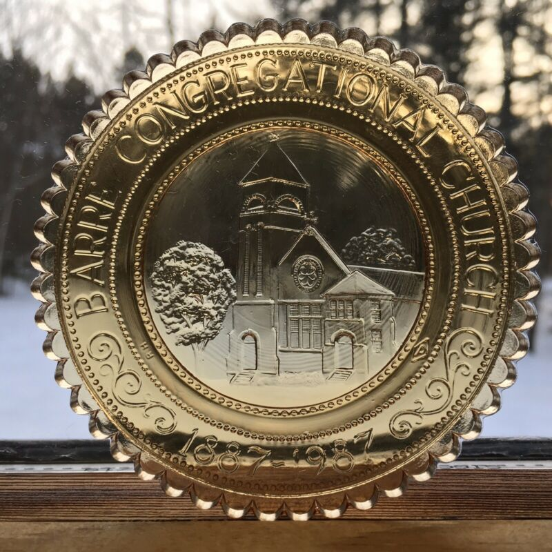 Barre VT Congregational Church Pairpoint Glass Cup Plate Gothic Romanesque Style