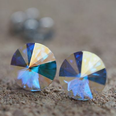 NEU Titan OHRSTECKER 10mm SWAROVSKI STEINE crystal AB/kristall AB OHRRINGE (Ab Stein Ohrringe)