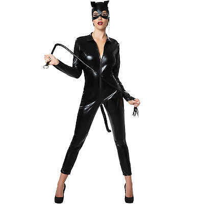 3tlg. Katzen Damen Kostüm Katze Fasching Halloween sexy Wetlook Catsuit (Sexy Damen Halloween Kostüme)
