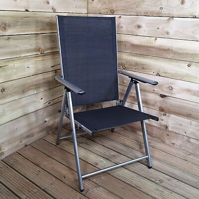 Multi Position Reclining Garden / Outdoor Folding Chair in Black and Silver
