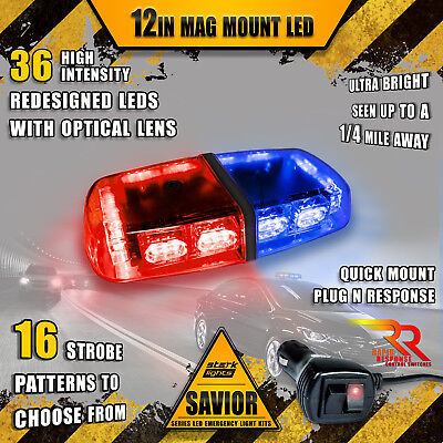 36 Led Light Bar Top Beacon Magnetic Hazard Roof Emergency Strobe   Red   Blue A