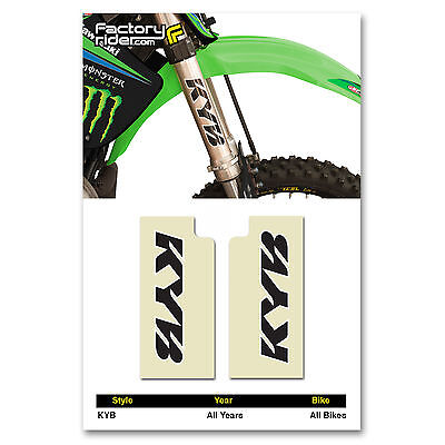 KYB Fork STICKERS Mx Dirt Bike GRAPHICS  FITS ALL Bikes! CLEAR  & BLACK KYB LOGO - Mx Bike Graphics
