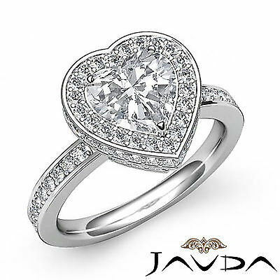 Circa Halo Heart Diamond Engagement Pave Set Ring GIA F Color SI1 Clarity 1.89Ct