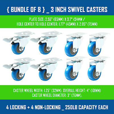 Bundle Of 8 3 Inch Blue Swivel Casters 4 Locking 4 Non-locking - 250lb Each