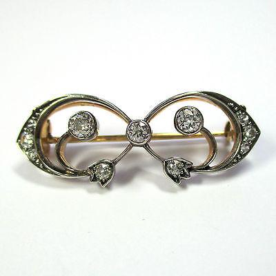 505 - Antike Brosche aus Gold 585 mit Altschliff Diamanten --- 1816/461