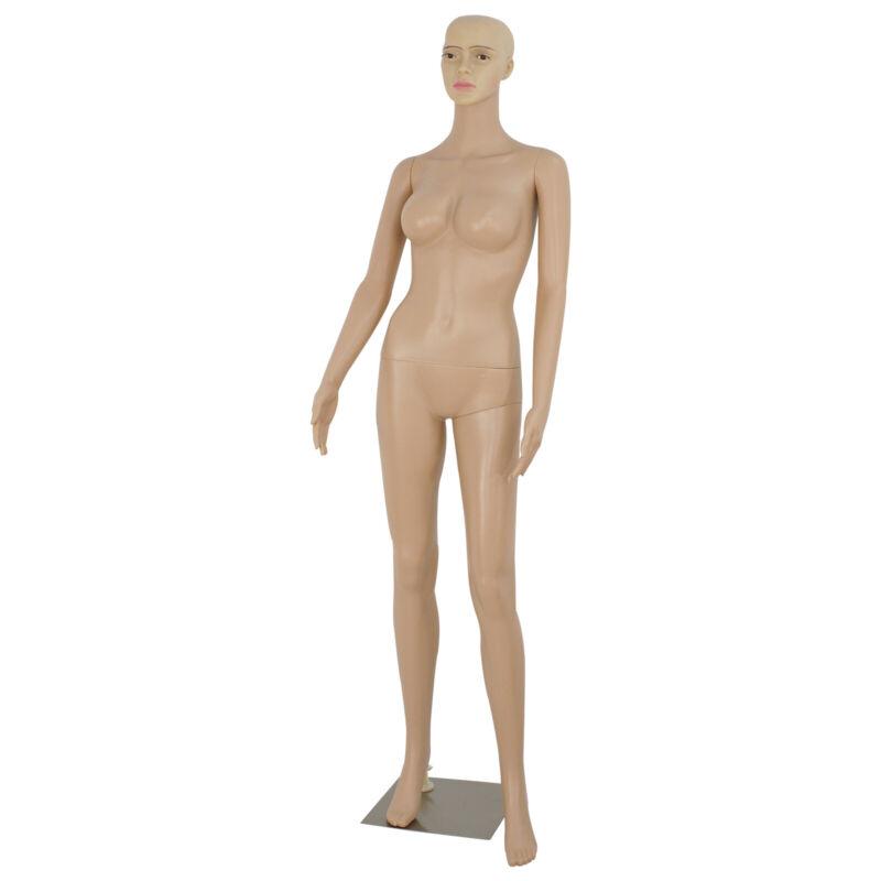 "69"" Female Mannequin Full Body PE Realistic Display Head Turn Dress Form w/ Base"
