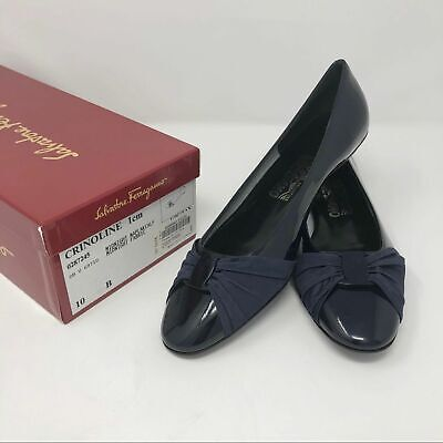 NIB Salvatore Ferragamo Crinoline navy patent leather flats shoes 10 B Italy