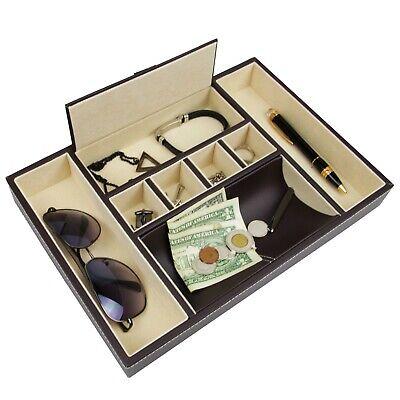 Decorebay Dark Brown PU Leather Valet Jewelry  Storage Tray