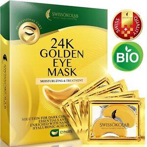 24 K Gold Eye Mask Collagen under Eye Pads Mask Anti Dark Circle Wrinkles Crow's