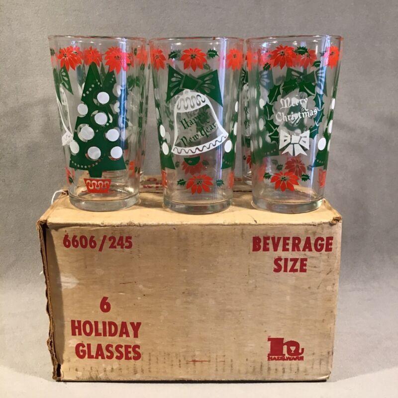 PV07024 Vintage Hazel Atlas #6606/245 MERRY CHRISTMAS Tumblers in Box (6pcs)