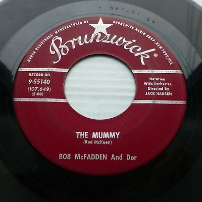 BOB McFADDEN & DOR pop r&b Halloween Brunswick 45 MUMMY b/w BEAT GENERATION - R&b Halloween Music