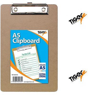 A5 Tiger Mini Compact Clipboard With Hanging Hole Metal Clip Extra Strong