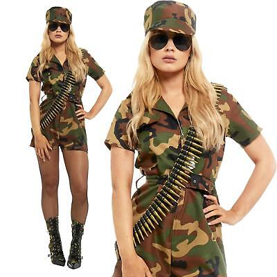 Camo Ladies Army Soldier Girl Cosplay Costume Captain Commando Combat (Camo Commando Kostüme)
