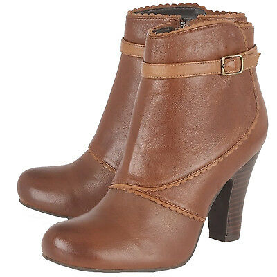 1d4d2adeca3b LADIES LOTUS HALLMARK MORIE BROWN LEATHER HEELED ANKLE BOOTS