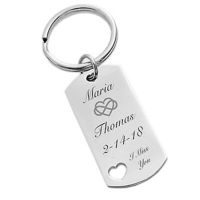 PERSONALIZED SILVER DOG TAG KEYCHAIN WITH CUTOUT HEART CUSTOM ENGRAVED FREE