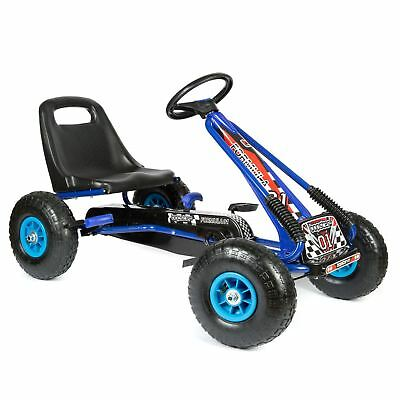 CHILDRENS KIDS BLUE PEDAL GO KART CART WITH INFLATABLE WHEELS AND HAND BRAKE