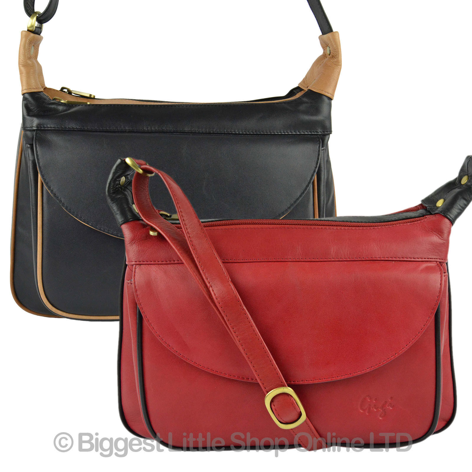 Details about NEW Ladies LEATHER Two-Tone Cross Body BAG by GiGi OTHELLO  Collection Classic c725beeefe17e