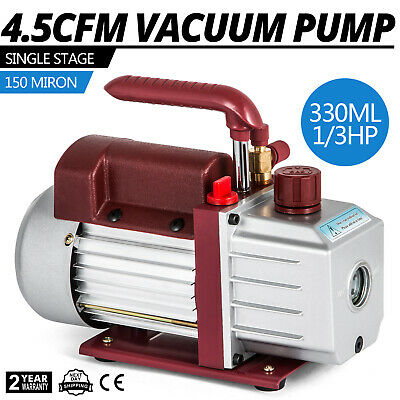 4.5CFM Single-Stage Rotary Vacuum Pump Wine Degassing HVAC/Auto AC 1/3HP PRO