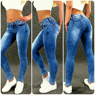 Push Up Stretch Jeans Gr: L 40 Blau Zazou sexy Damen Skinny Hose M1864