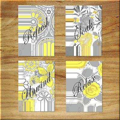 YELLOW and GRAY Wall Art Bathroom Flower Floral Picture Prints Decor Relax Soak
