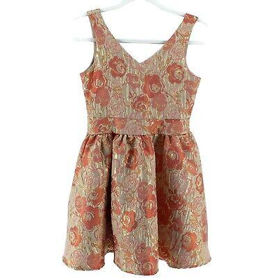 Girls Un Deux Trois Dress Size 12 Formal Sleeveless Dress Gold Pink Floral  - Girl Formal Dresses Size 12