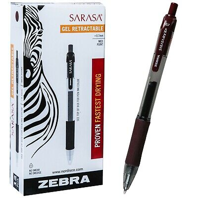 Zebra Sarasa Dry X20 0.7mm Mahogany Gel Ink Retractable Rollerball Pen Box Of 12