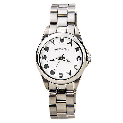 NEW MARC JACOBS MBM3110 BUBBLES SILVER STAINLESS STEEL WHITE DIAL WOMEN'S WATCH