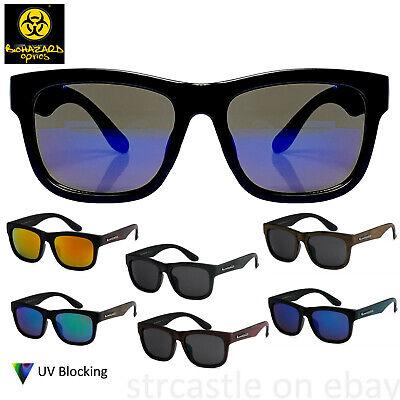 Biohazard Optics Mens Womens Retro Wayfare Wood Pattern Sunglasses (Wood Wayfarer)