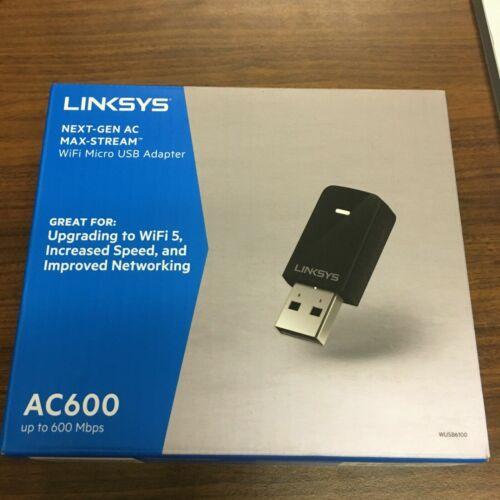 NEW Linksys WUSB6100M Ac600 WiFi Dual-Band Micro USB Adapter