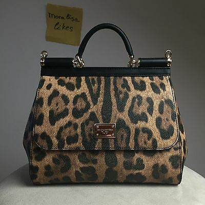 New DOLCE & GABBANA Miss Sicily Leopard Aminal Print Black Bag Handbag Purse