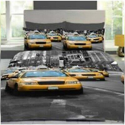 STYLISH 3D TEXTURE NEW YORK CITY TAXI/CAB YELLOW/BLACK DOUBLE DUVET COVER SET