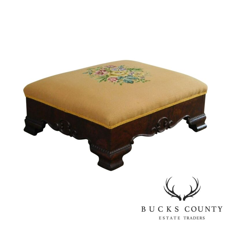 Victorian Antique Mahogany Needlepoint Footstool