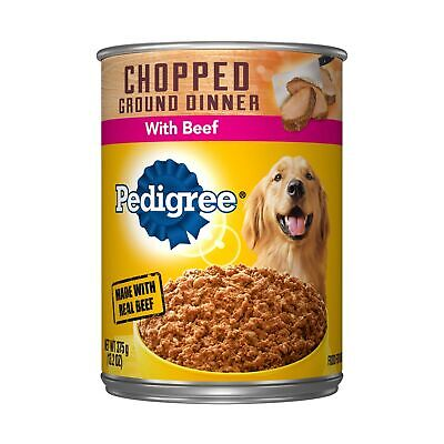 PEDIGREE Chopped Ground Dinner Wet Dog Food, 13.2 oz. Cans Beef Pack of 12