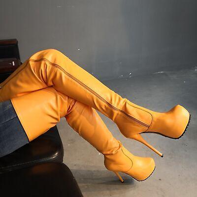Kunstleder Platform (Pumps Reißverschluß Overkneestiefel Damen Platform Stilettos Schuhe Kunstleder)