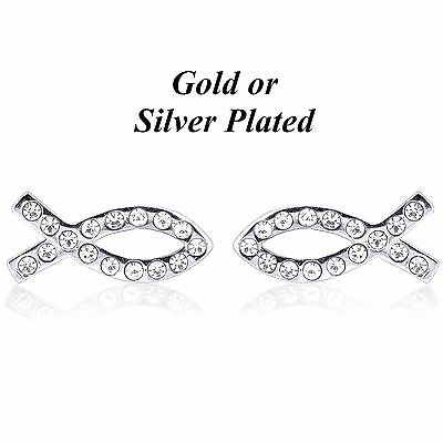 Forever Gold or Silver Plated Christian Jesus Fish Earrings * Austrian Crystal *