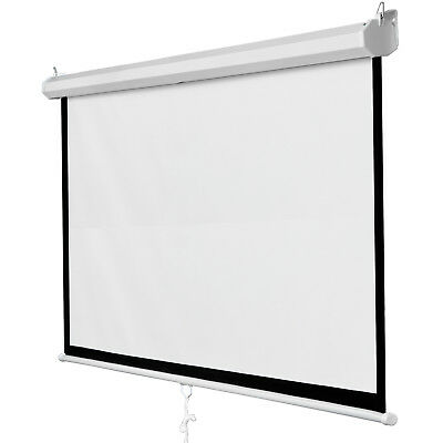 """119"""" Manual Pull Down Auto Lock Projector Projection Screen Party Movie 84""""x84"""""""