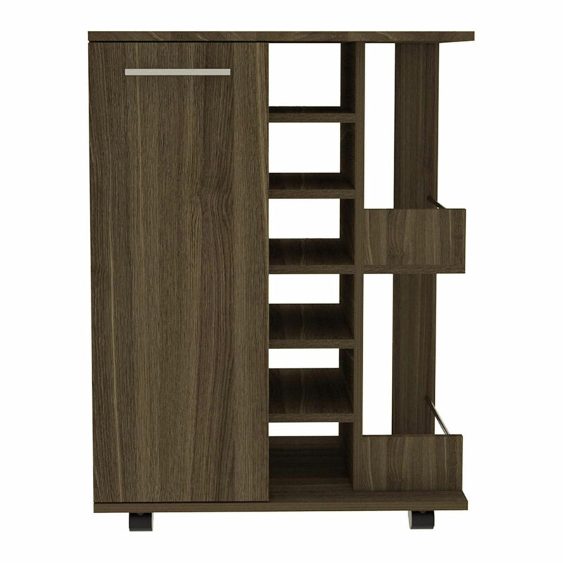 TUHOME Bar Storage Cabinet Display Cart for Wine and Liquor with Door, Amaretto