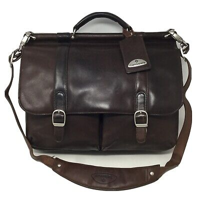 SAMSONITE Leather Messenger Bag Business Casual Series Brown Laptop Briefcase
