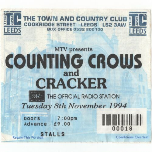 COUNTING CROWS & CRACKER Concert Ticket Stub LEEDS UK 11/8/94 TOWN COUNTRY CLUB