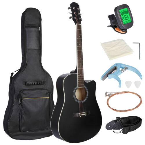 Black 41″ Full Size Beginner Acoustic Guitar with Case Strap Capo Strings Tuner Acoustic Guitars